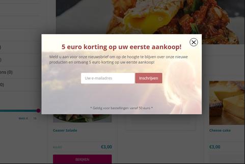 Pop-up opt-in om e-mail adressen te verzamelen op product pagina's